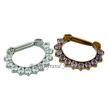 Aço inoxidável CZ Prong Set Septo Jóias Septo Clicker Indian Nose Ring